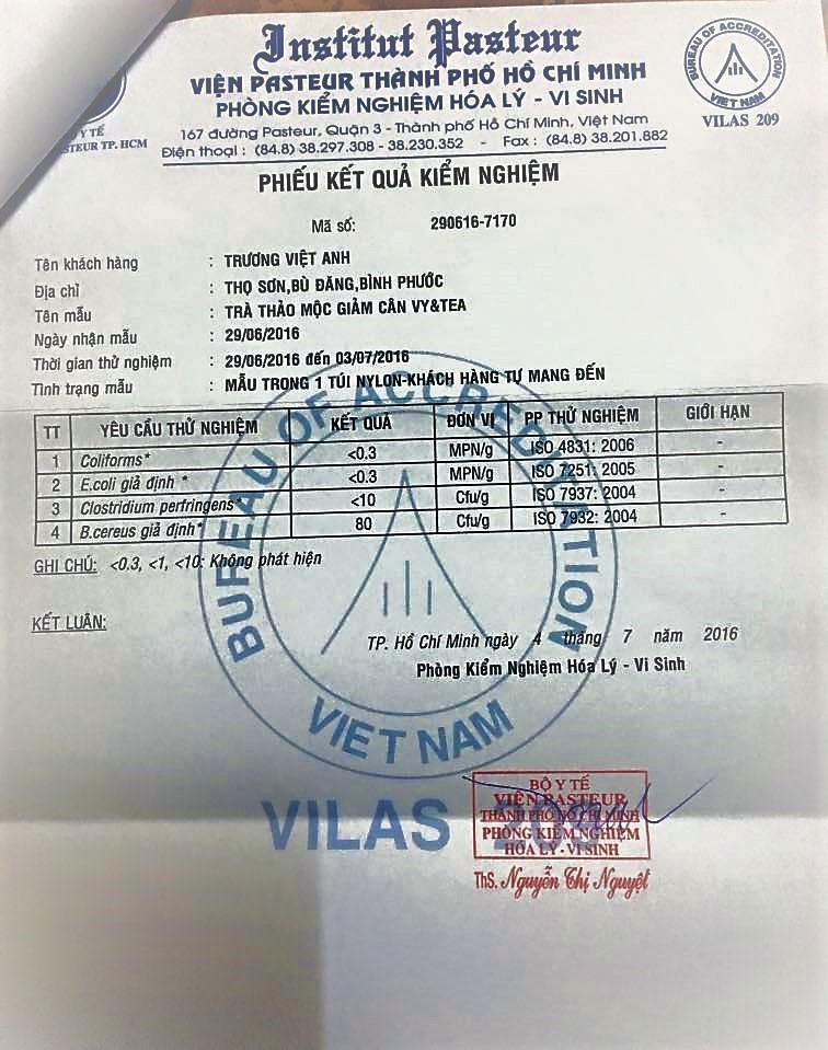 giấy chứng nhận chất lượng pasteur